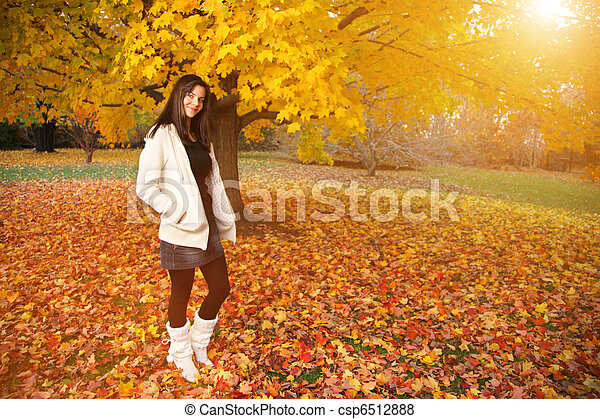 Beautiful young woman in autumn park. - csp6512888