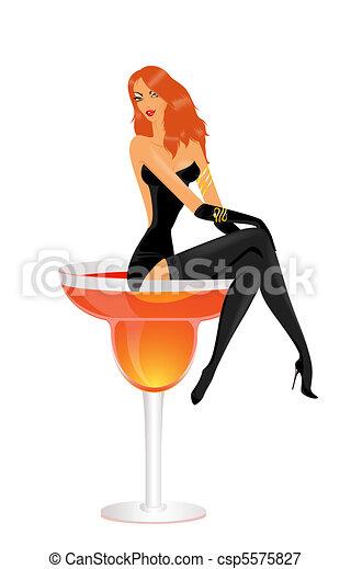 beautiful young woman in black dress - csp5575827