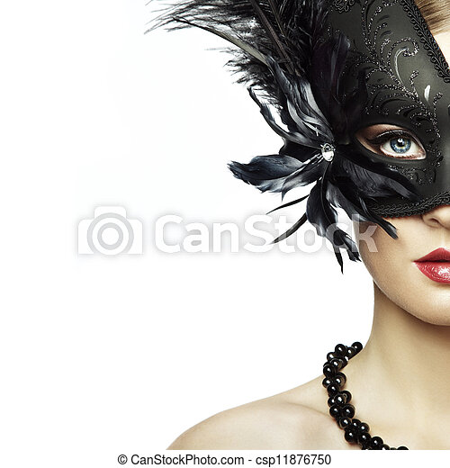 Beautiful young woman in black mysterious venetian mask  - csp11876750
