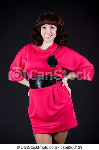 Beautiful young woman in dress - csp9263139