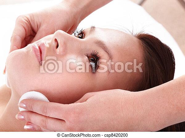 Beautiful young woman in spa. Facial  - csp8420200