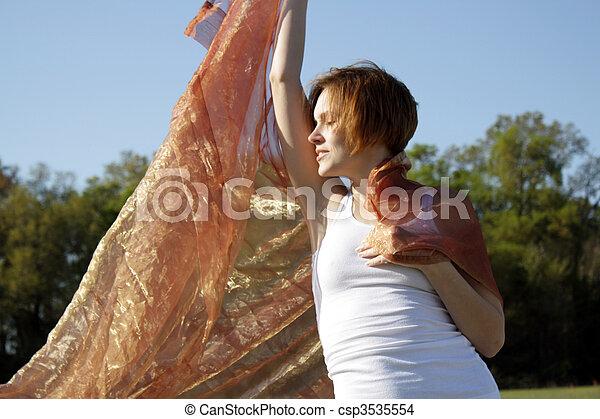 Beautiful Young Woman Outdoors (1) - csp3535554