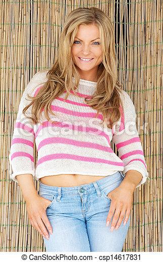 Beautiful young woman smiling  - csp14617831
