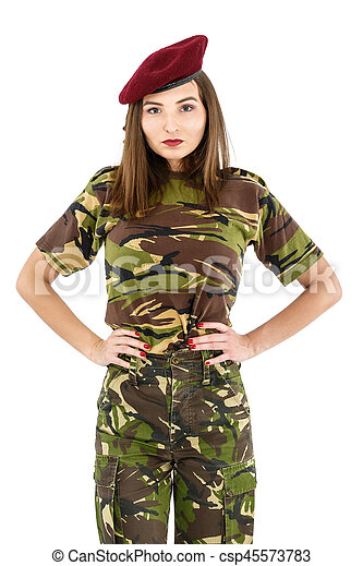 beautiful young woman soldier in military camouflage outfit - csp45573783