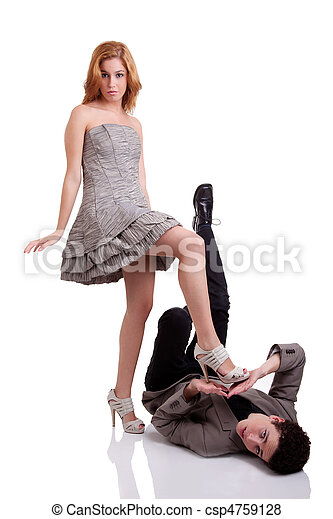 Woman Stepping On Man Beautiful young woman ...