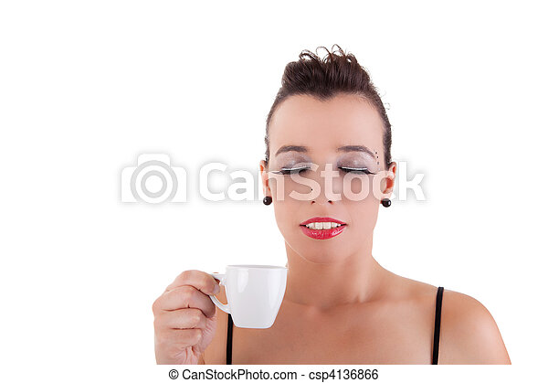 beautiful young woman, taking and enjoying a coffee, isolated on white background. studio shot - csp4136866