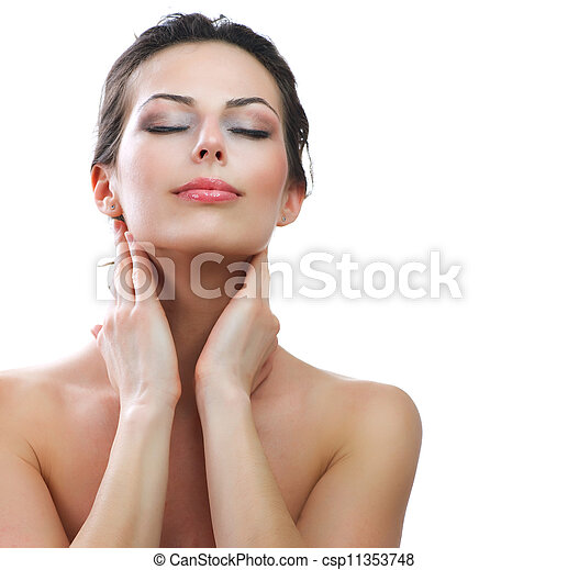 Beautiful Young Woman touching her Face. Skincare. Perfect Skin  - csp11353748