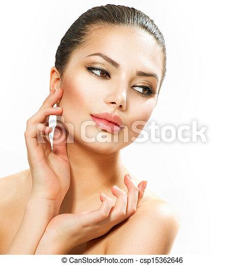 Beautiful Young Woman Touching Her Face  - csp15362646