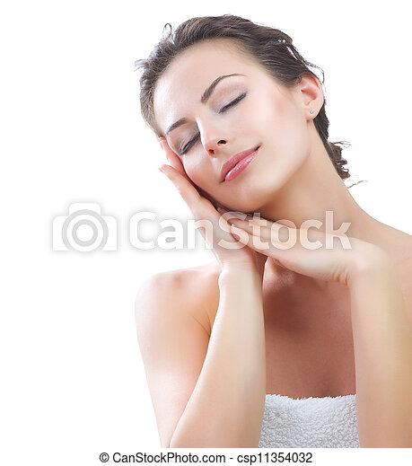 Beautiful Young Woman touching her Face. Skincare - csp11354032