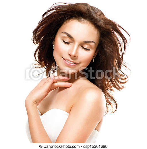 Beautiful Young Woman touching Her Skin. Portrait over White  - csp15361698