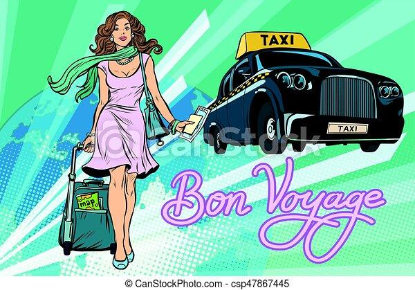 Beautiful young woman tourist passenger taxi - csp47867445