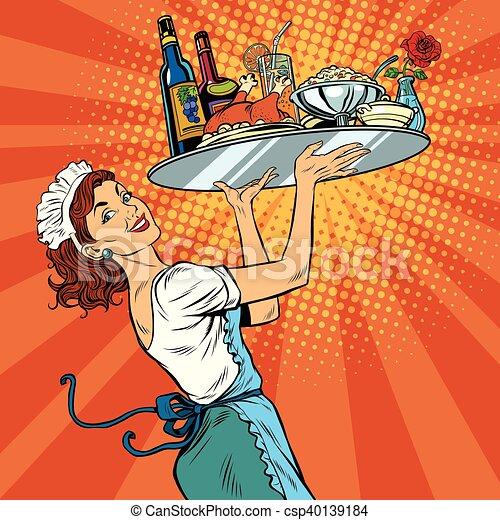 Beautiful young woman waitress in a restaurant - csp40139184