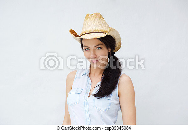 Beautiful young woman wearing cowboy hat. Close up portrait of a ... 7fed94e39a91