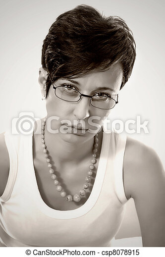 Beautiful young woman wears trendy glasses. - csp8078915