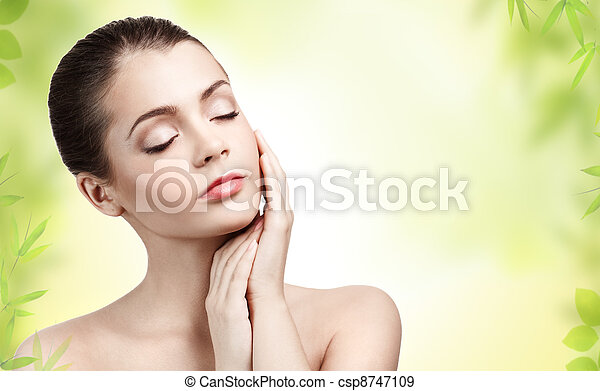 Beautiful young woman with clean skin  - csp8747109