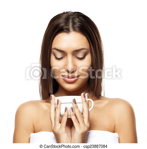 beautiful young woman with cup of coffee, on white background - csp23887084