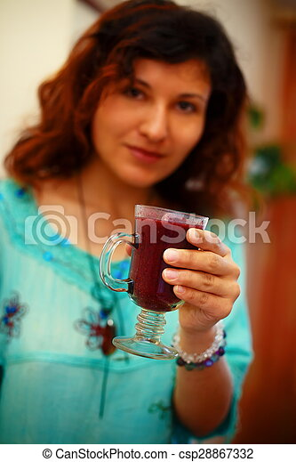 Beautiful Young Woman with Fruit smoothie - csp28867332