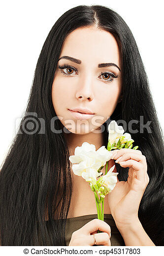 Beautiful young woman with  healthy skin and hair - csp45317803