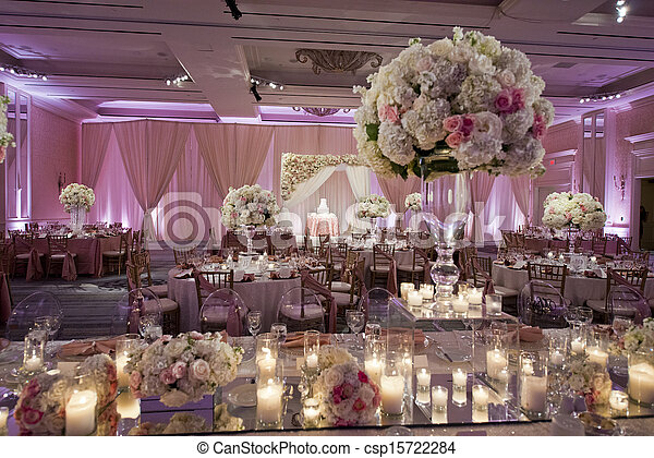 Beautifully decorated wedding ballroom - csp15722284