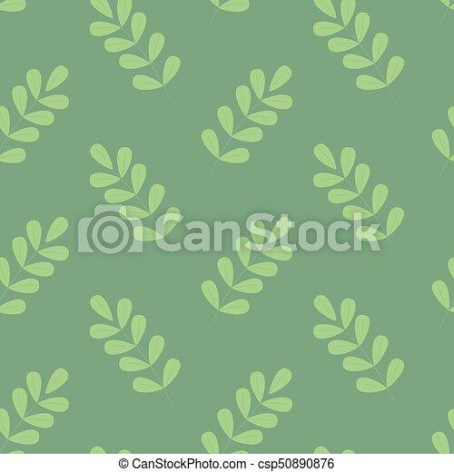 Beautiul simple green foliage seamless pattern - csp50890876