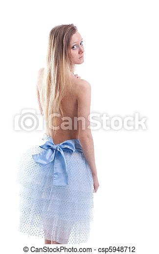 Beauty blond girl walk in light - csp5948712