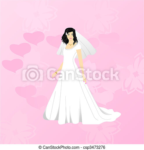 Beauty bride on pink background - csp3473276
