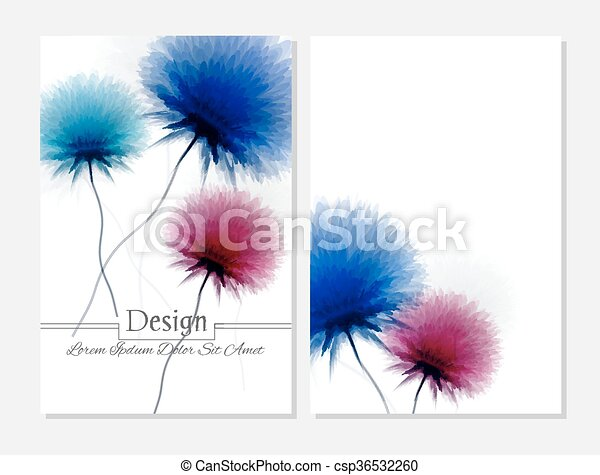 Beauty brochure. Blue pink and white colors - csp36532260