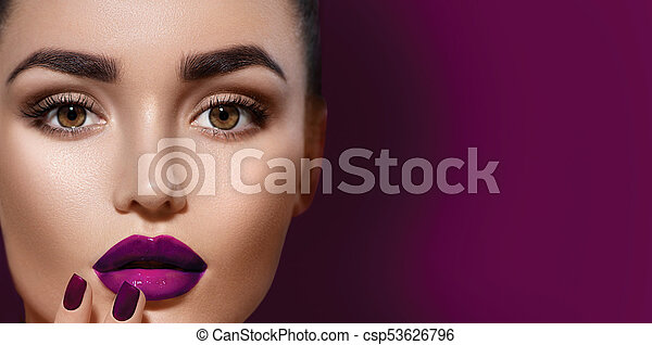 Beauty brunette woman with professional holiday makeup - csp53626796