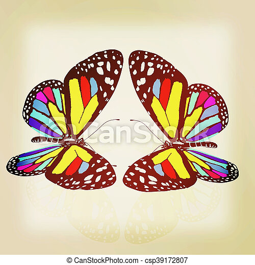 beauty butterflies. 3D illustration. Vintage style. - csp39172807