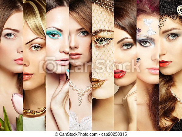 Beauty collage. Faces of women - csp20250315