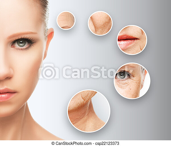 beauty concept skin aging. anti-aging procedures, rejuvenation, lifting, tightening of facial skin - csp22123373
