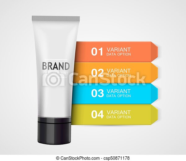 Beauty cosmetics infographic visualization template. Cream Ingredients. - csp50871178