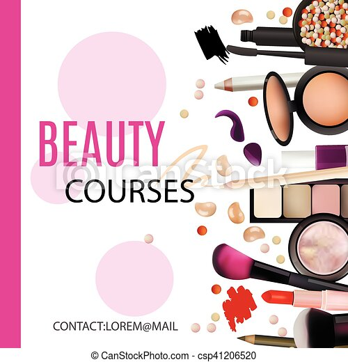 Beauty Courses Poster Design Cosmetic Products Professional Make Up Care Printable Template For Vector