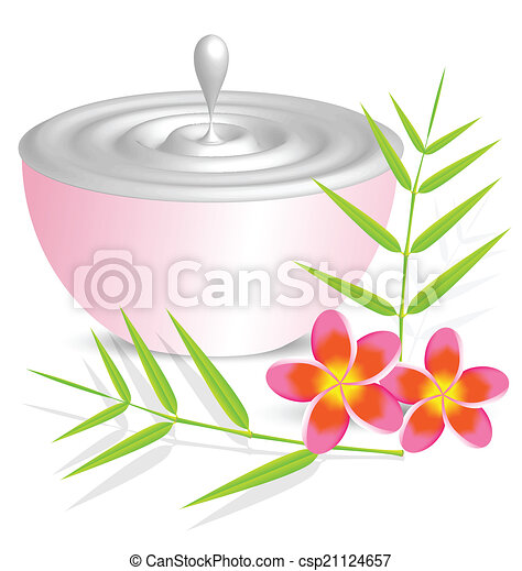 Beauty cream container on white background with flower and bambo - csp21124657