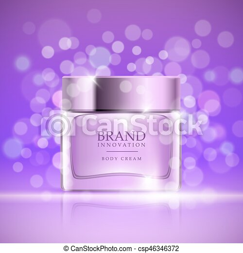 Beauty cream on purple bubbles background  Skin care product advertising  concept for cosmetic industry  Vector illustration