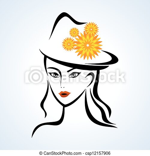 beauty face girl with hat - csp12157906