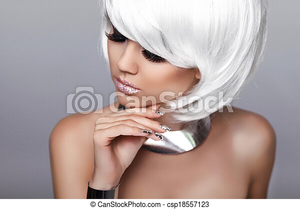 Beauty Fashion Blond Girl. Portrait of Sexy Woman. White Short Hair. Isolated on Grey Background. Face Close-up. Hairstyle. Fringe. Vogue Style. - csp18557123