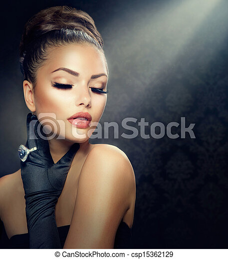 Beauty Fashion Girl Portrait. Vintage Style Girl Wearing Gloves  - csp15362129