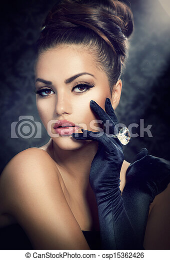 Beauty Fashion Girl Portrait. Vintage Style Girl Wearing Gloves  - csp15362426