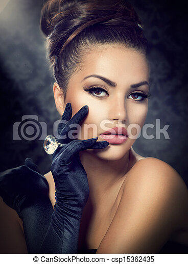 Beauty Fashion Girl Portrait. Vintage Style Girl Wearing Gloves - csp15362435