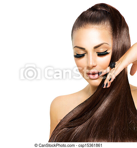 Beauty Fashion Girl with Long Hair. Trendy Caviar Black Manicure  - csp15361861