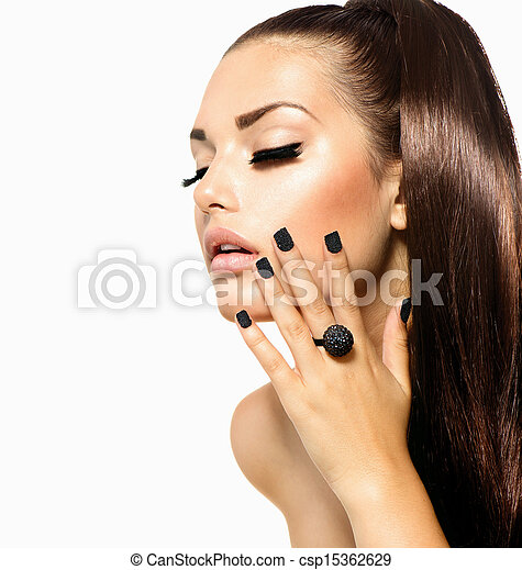 Beauty Fashion Girl with Long Hair. Trendy Caviar Black Manicure  - csp15362629