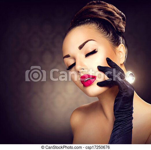Beauty Fashion Glamour Girl Portrait. Vintage Style Girl - csp17250676