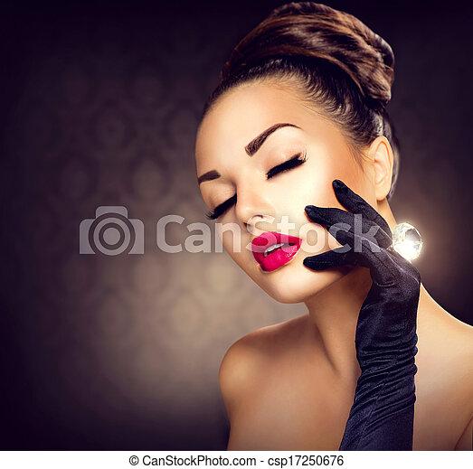 Beauty Fashion Glamour Girl Portrait. Vintage Style Girl - csp17250676