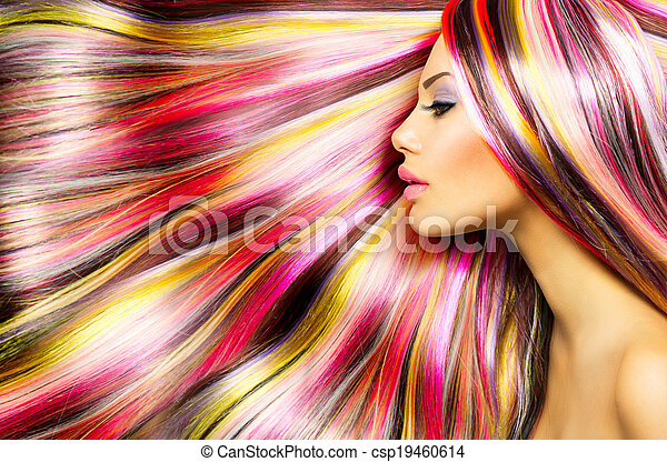 Beauty Fashion Model Girl with Colorful Dyed Hair - csp19460614