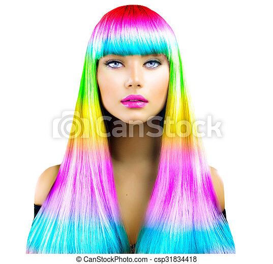 Beauty fashion model girl with colorful dyed hair - csp31834418
