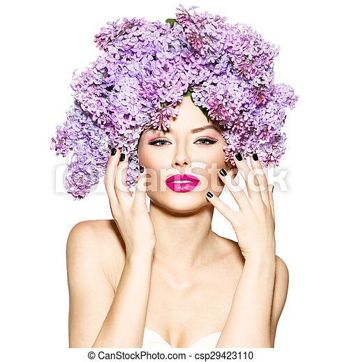 Beauty fashion model girl with lilac flowers hairstyle - csp29423110