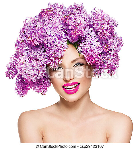 Beauty fashion model girl with lilac flowers hairstyle - csp29423167