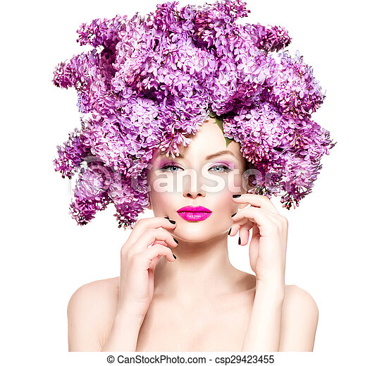 Beauty fashion model girl with lilac flowers hairstyle - csp29423455