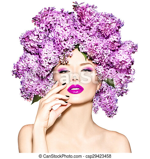 Beauty fashion model girl with lilac flowers hairstyle - csp29423458